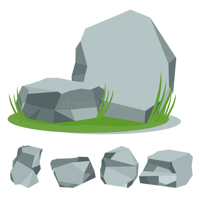 Rock stone with grass stock illustration
