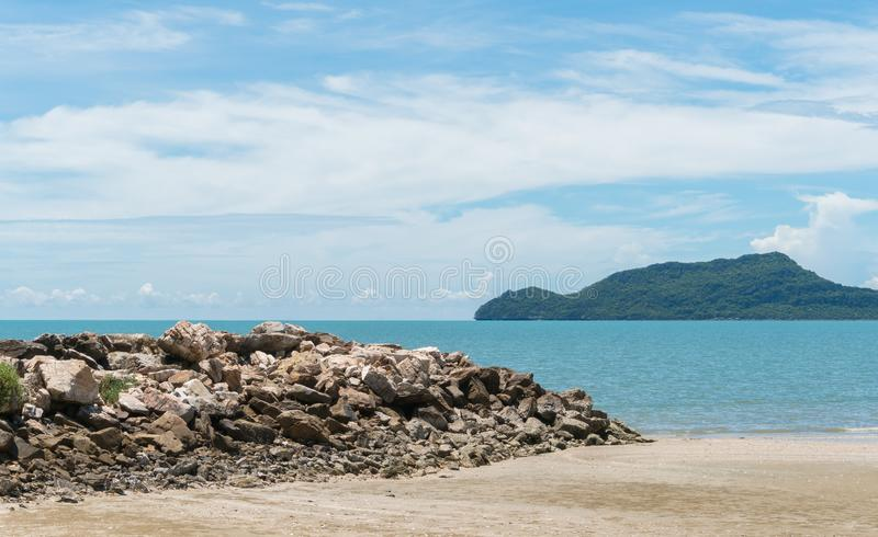 Stone or Rock Mound or Pile on Beach Close up at Prachuap Khiri. Rock or stone mound or pile on the beach at Prachuap Khiri Khan Thailand. Beach and sea or brine royalty free stock photo