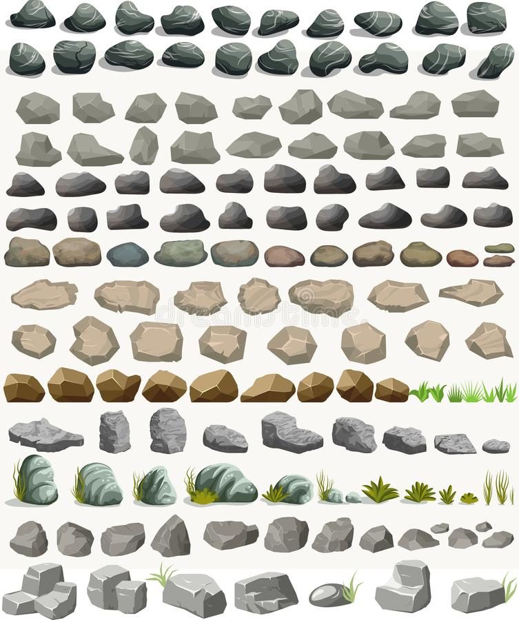 Rock stone set with grass cartoon in flat style. Vector royalty free illustration