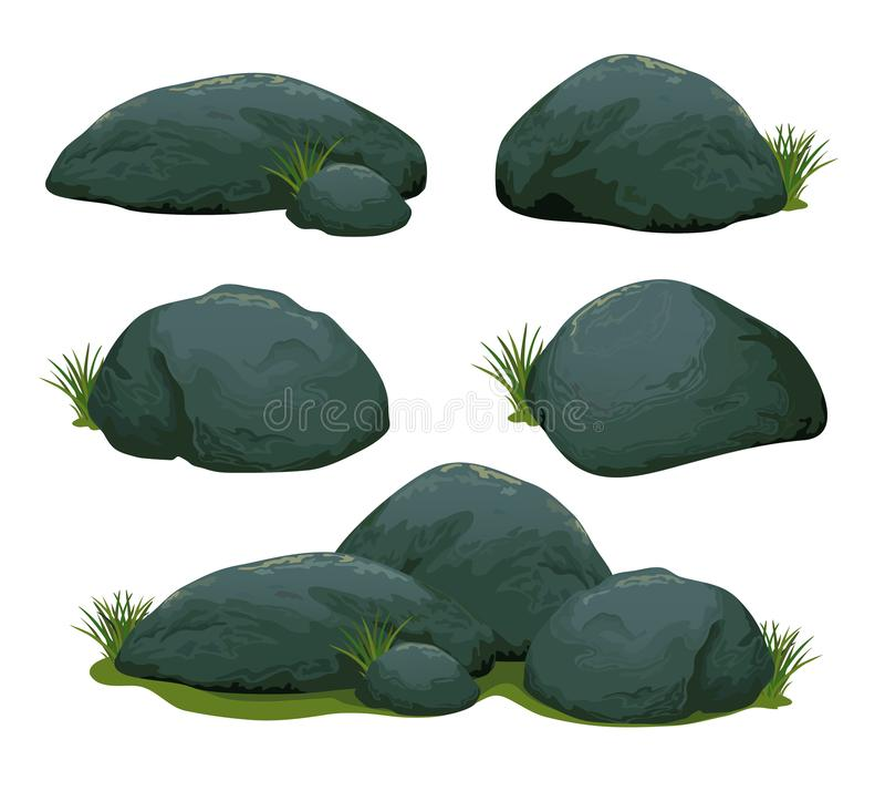 Rock stone set 2 vector illustration