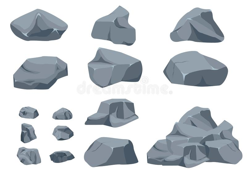 Rock stone set cartoon. stock illustration