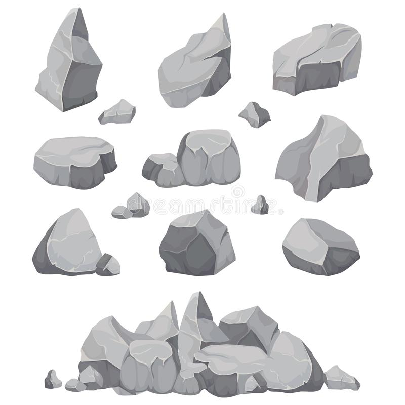 Rock stones. Graphite stone, coal and rocks pile isolated vector illustration stock illustration