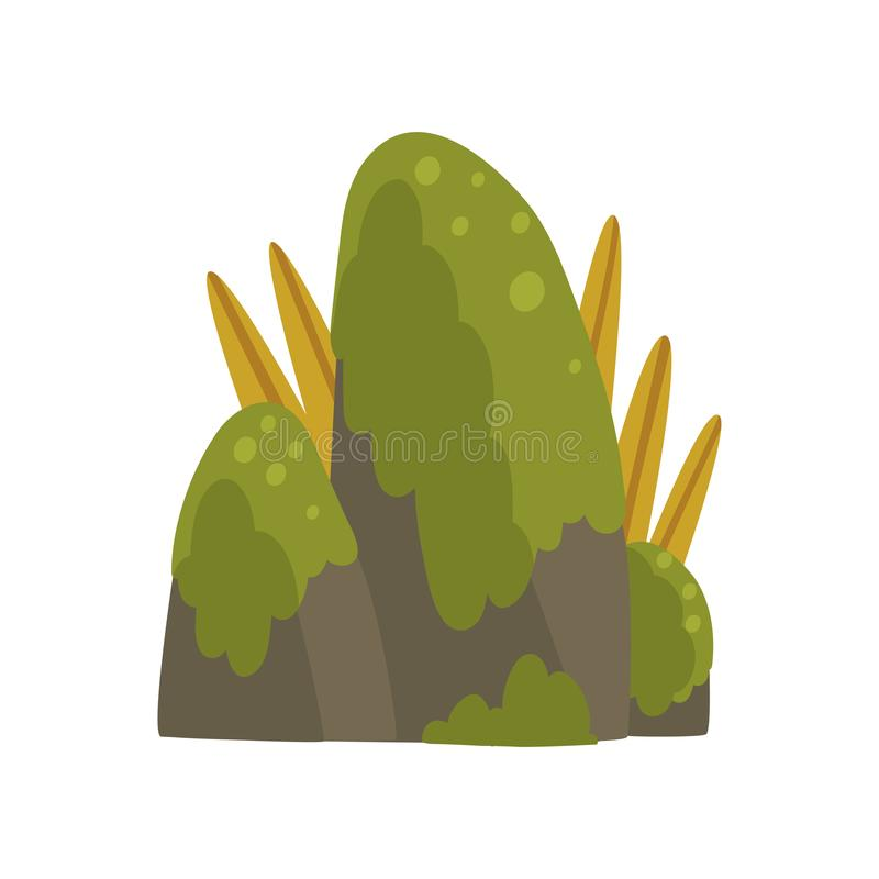 Rock Stones with Green Moss, Forest, Mountain Natural Landscape Design Element Vector Illustration vector illustration