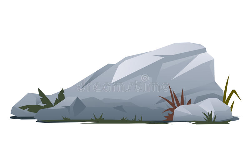 Rock with Stones. Grey rock with stones and grass, landscape design and game background elements, quality illustration, isolated royalty free illustration