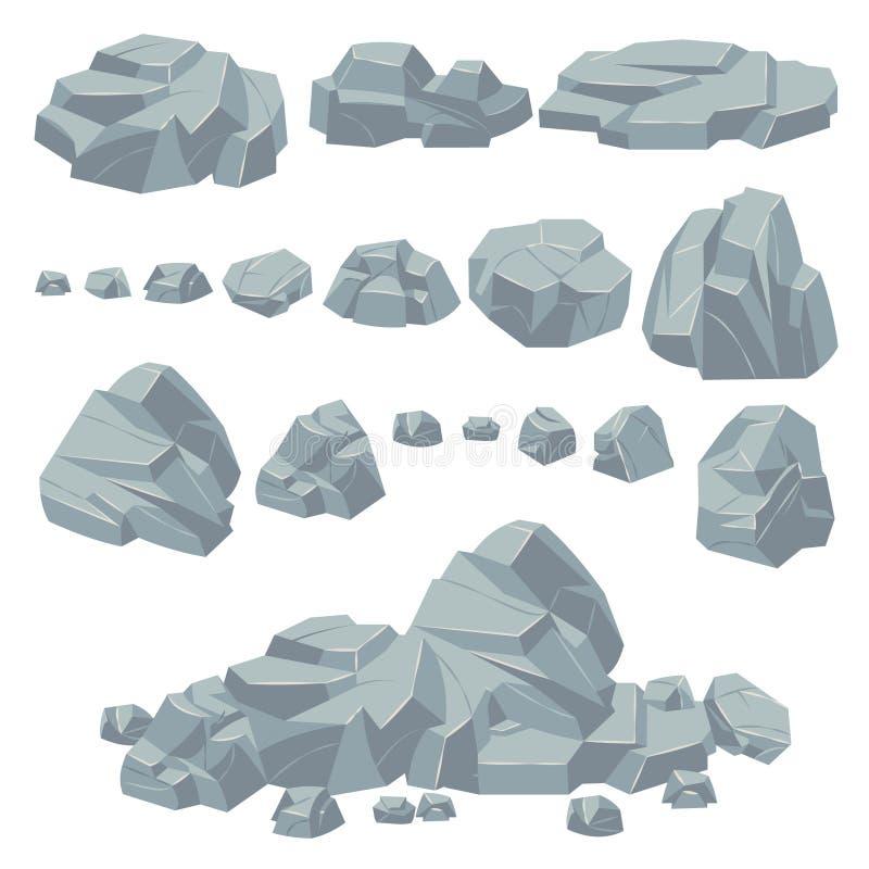 Rock stones. Natural stone rocks, massive boulders. Granite cobble cliff and stone heap for mountain landscape. Cartoon. Pile gravel object vector set vector illustration