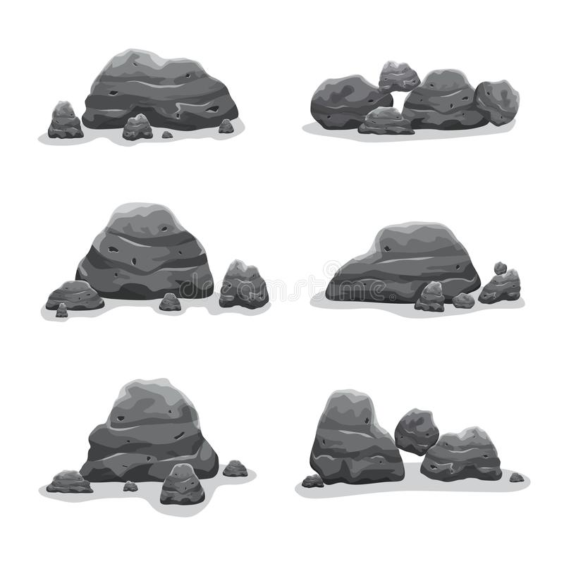 Rock stones set vector art collection stock illustration