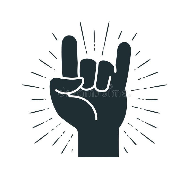 Rock symbol, hand gesture. Cool, party, respect, communication icon. Silhouette vector illustration royalty free illustration