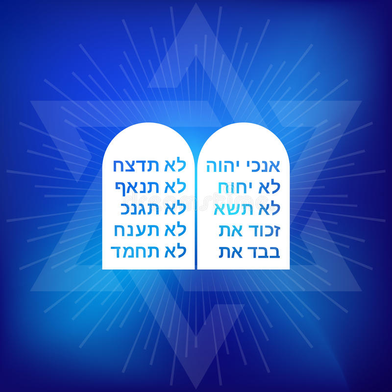Rock of ten commandments with Hebrew alphabet. On blue background with star of David and ray of light vector illustration