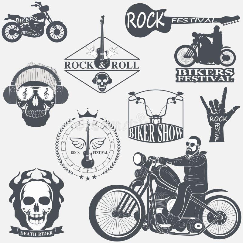 Rock themed badges vector illustration