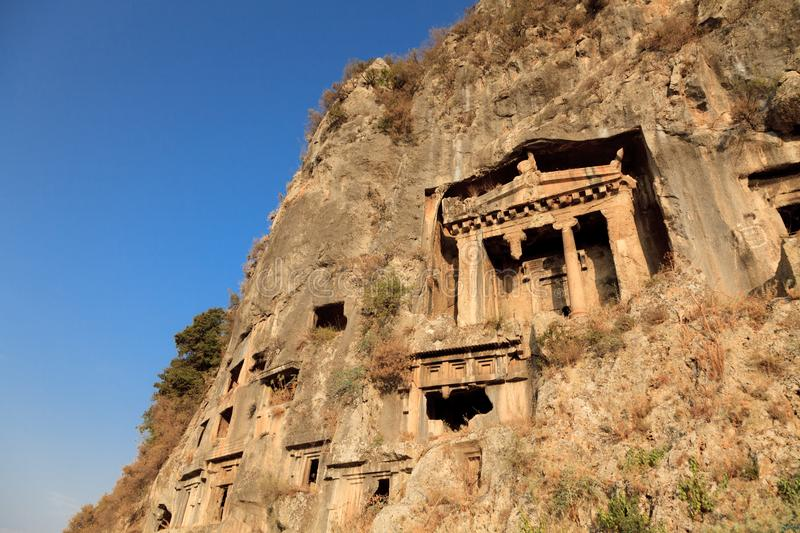 Rock Tombs In Fethiye, Turkey. Rock tombs of telmessos now fethiye, turkey royalty free stock photo