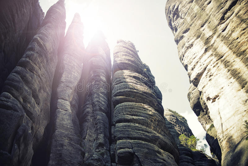 Rock Town, National Park of Adrspach-Teplice in Czech Republic, vintage effect stock image
