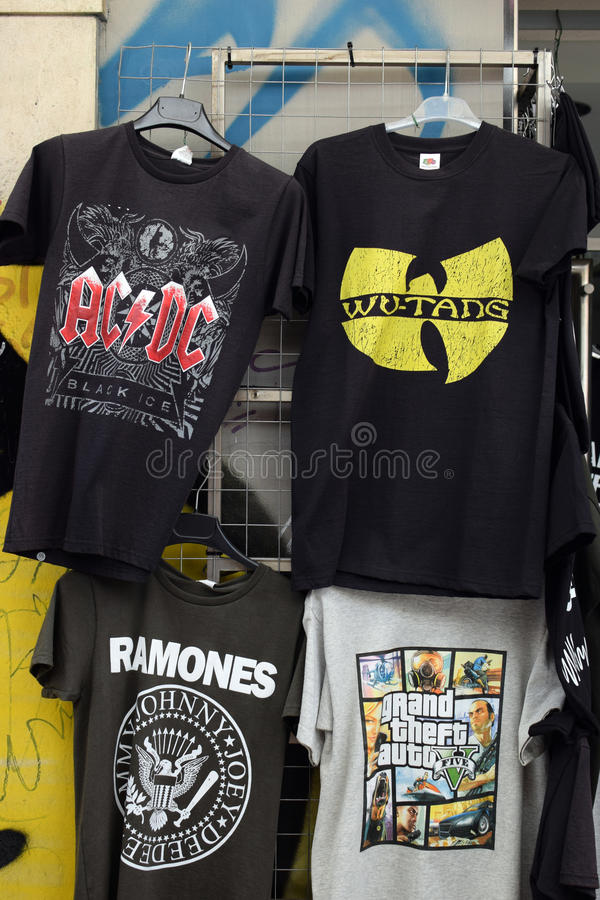 Rock- und Hip-Hop-Musikt-shirts stockfotografie