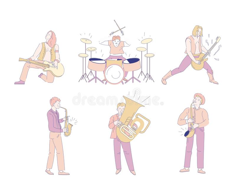 Rock- und Orchestermusiker lokalisierten Charaktermusikindustrie vektor abbildung