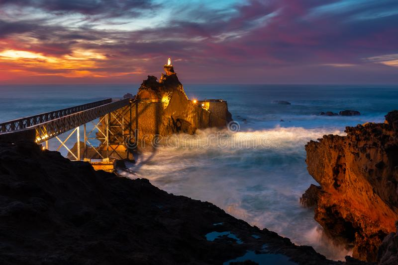 Rock of the Virgin Mary in Biarritz, France royalty free stock photos