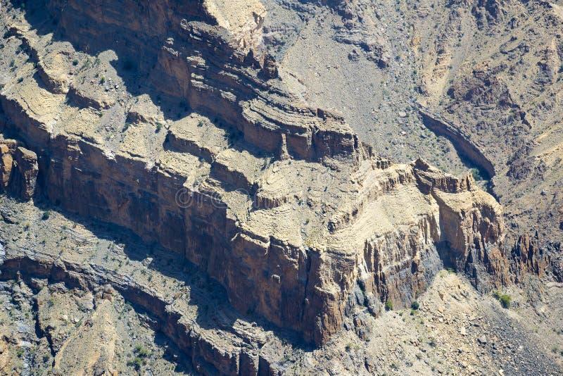 Rock walls Jebel Shams stock photography