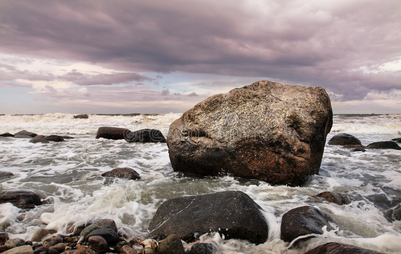 Download Rock & water stock photo. Image of clouds, rock, romantic - 7113844