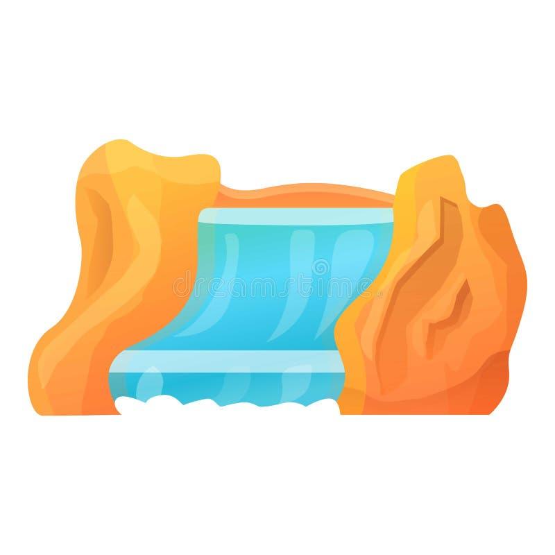 Rock waterfall icon, cartoon style. Rock waterfall icon. Cartoon of rock waterfall vector icon for web design isolated on white background stock illustration