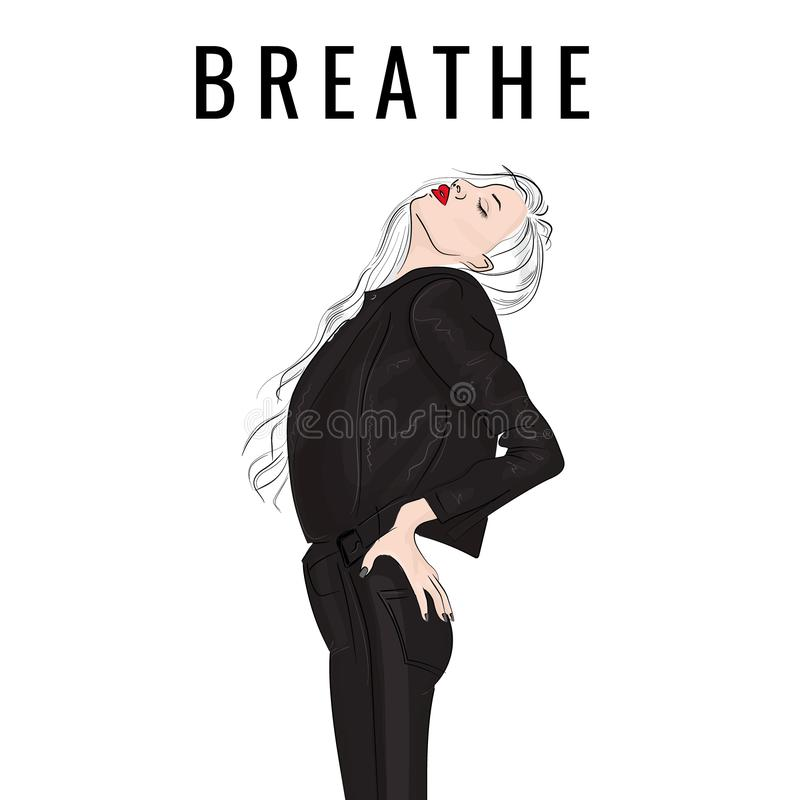 Rock woman street style illustration. Rebel blonde girl in leather jacket and jeans with typography letters. Modern fashion quote stock illustration