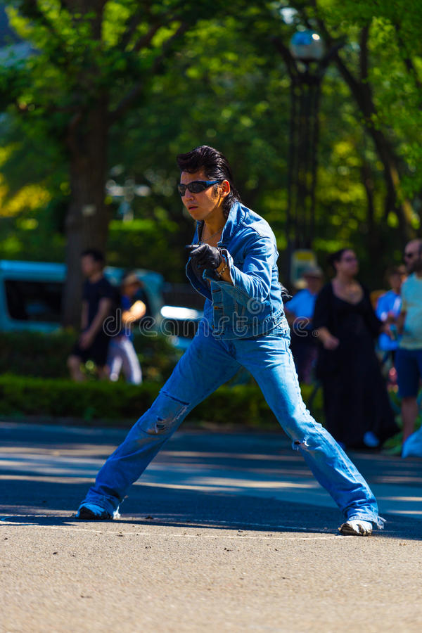 Rockabilly Dancing Man Pose Jean Yoyogi Park Tokyo royalty free stock images