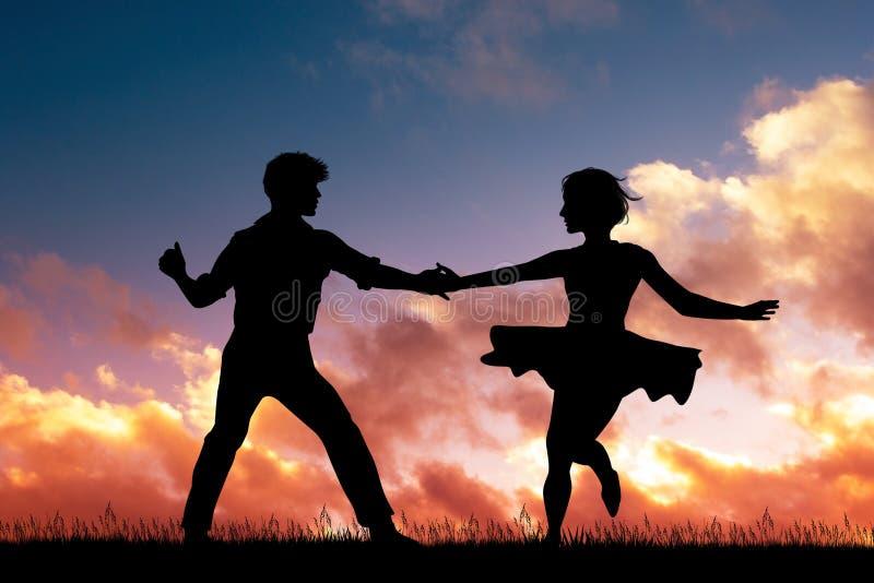 Rockabilly taniec przy zmierzchem zdjęcie royalty free