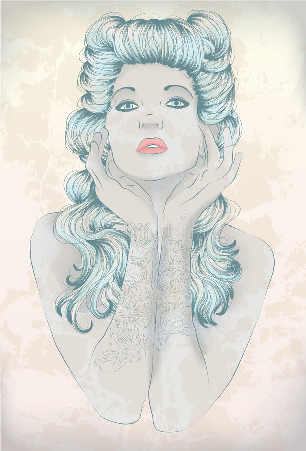 Rockabilly woman with tattoo royalty free stock image