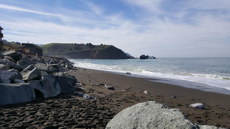 Rockaway海滩, Pacifica,加利福尼亚 免版税图库摄影