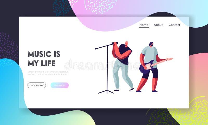 Rockband som utf?r p? etapp Elektrisk gitarrist och sångare Giving Music Concert Mankonstnärer, i att vagga dräkten, musikshow vektor illustrationer