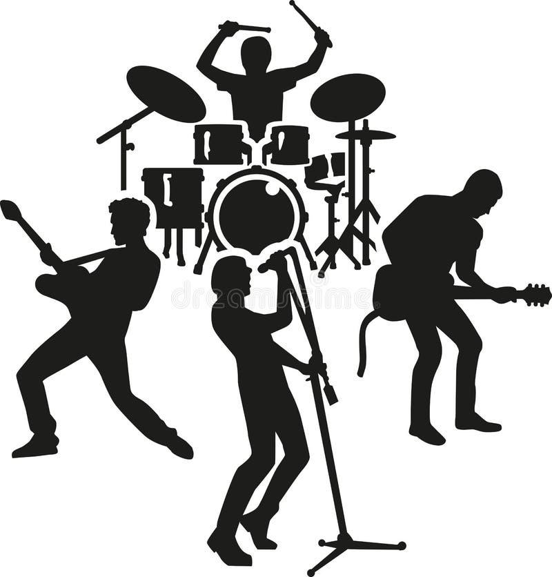 Rockbandkontur royaltyfri illustrationer