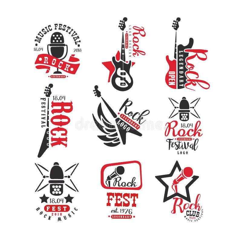 Rockclubweinleseart-Logosatz, Aufkleber für Rockmusik Fest-Vektor Illustrationen auf einem weißen Hintergrund vektor abbildung