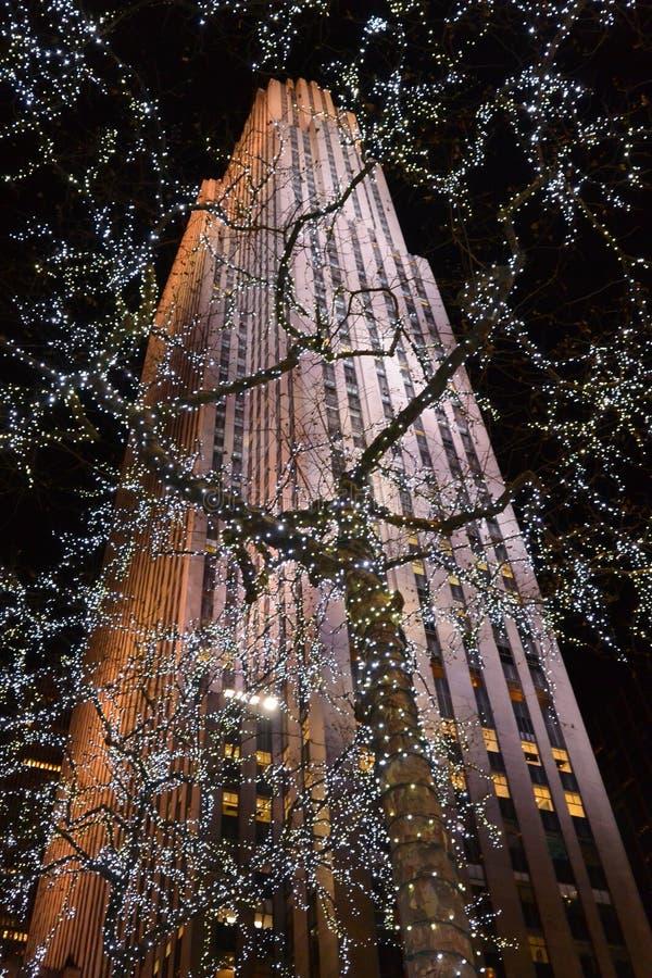 Rockefeller byggnad på jul royaltyfri foto