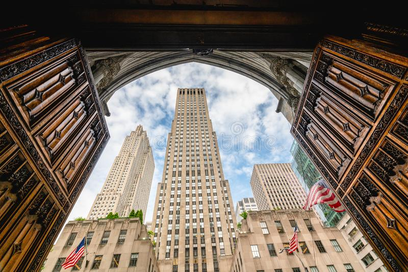 Rockefeller Center, as it Viewed from St. Patrick`s Cathedral, in the heart of Midtown Manhattan, NYC. Rockefeller Center, View from St Patrick`s Cathedral, 5th royalty free stock image