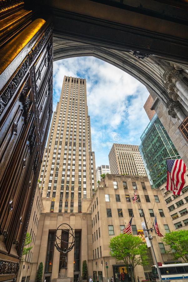 Rockefeller Center as it Viewed from St. Patrick`s Cathedral, New York City royalty free stock images