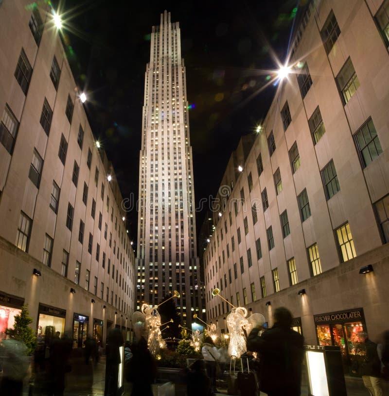 Rockefeller Center at Christmas time stock photo