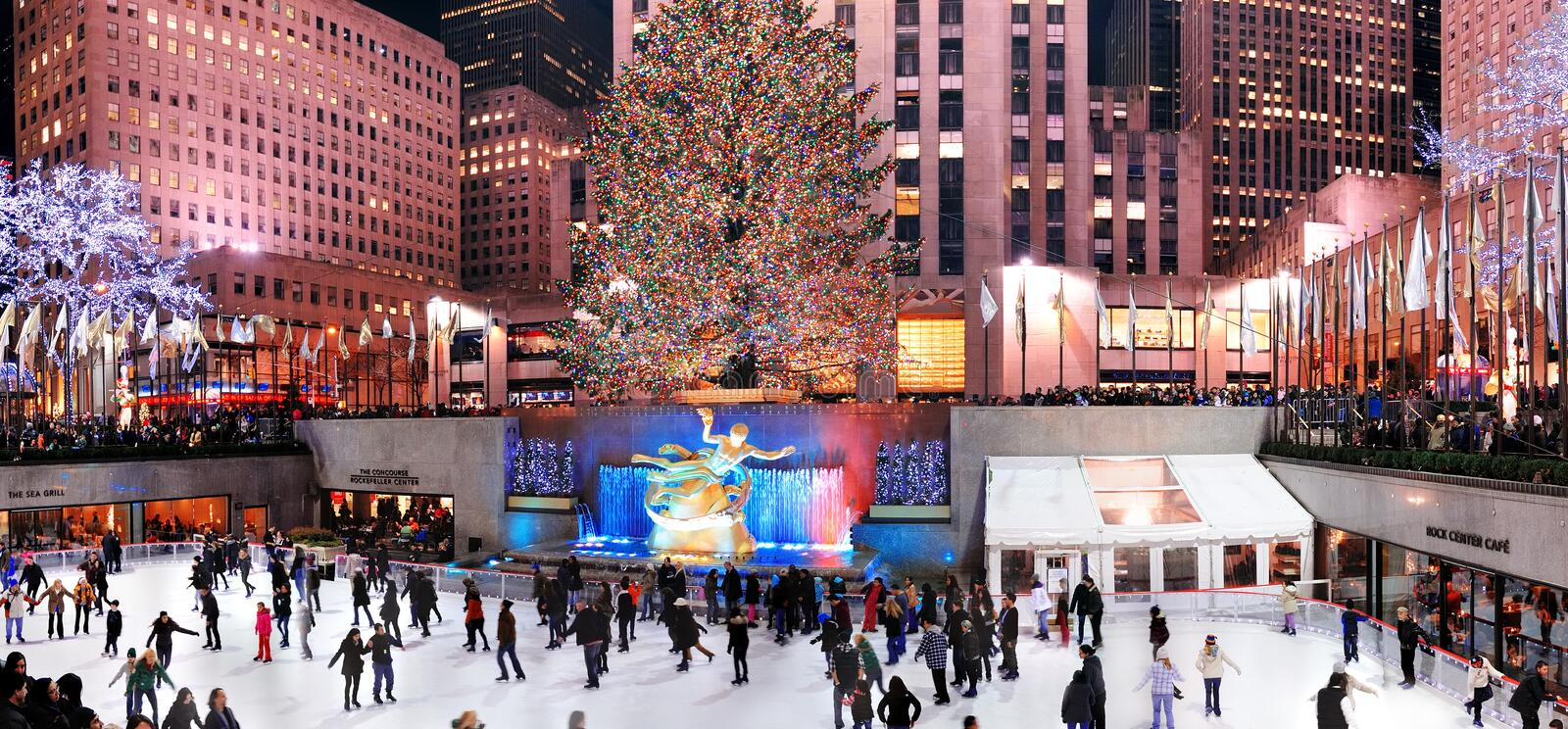 Rockefeller Center ice-skating rink royalty free stock photo