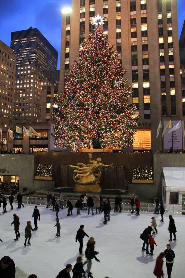 Rockefeller Center julgran, New York City royaltyfria foton