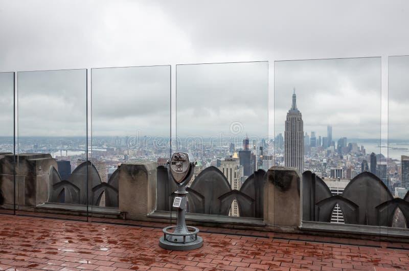 Rockefeller centra a parte superior da plataforma de observação da rocha imagens de stock royalty free