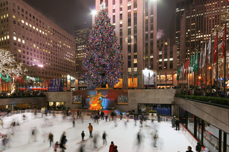 Rockefeller centrum drzewa obrazy royalty free