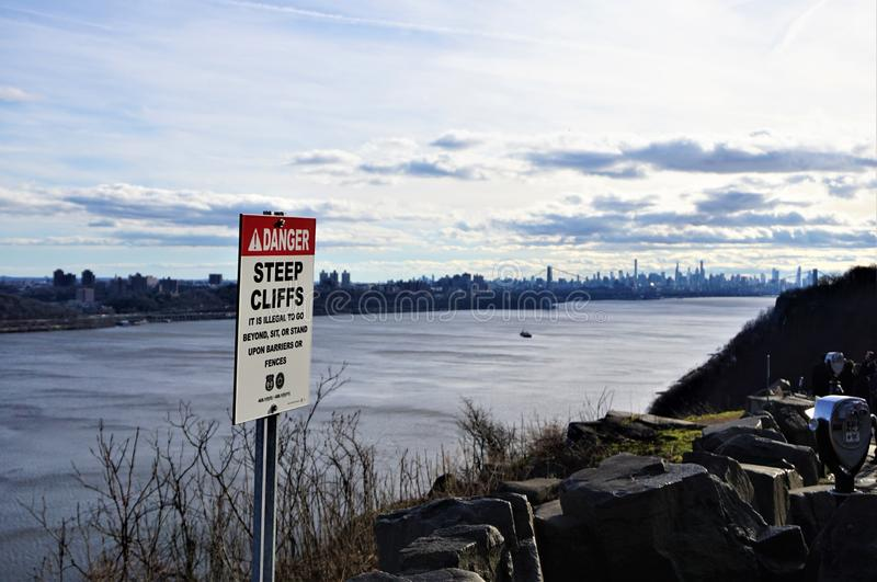 Rockefeller Lookout Danger Steep Cliffs sign royalty free stock photography