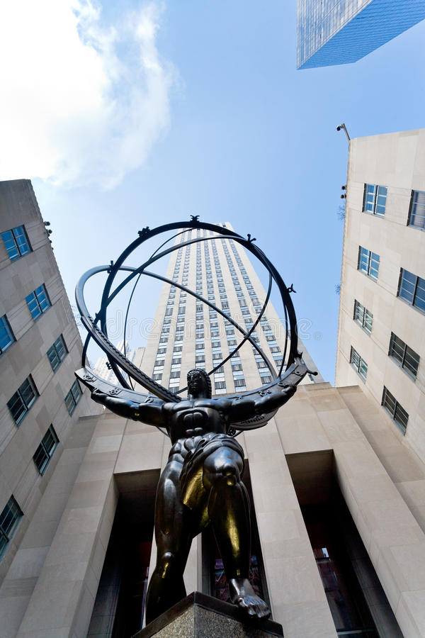 Rockefeller-Mitte- und -atlasstatue in New York stockfotos