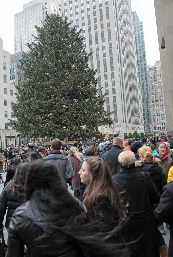 Rockefeller-Mitte-Weihnachtsbaum stockbilder