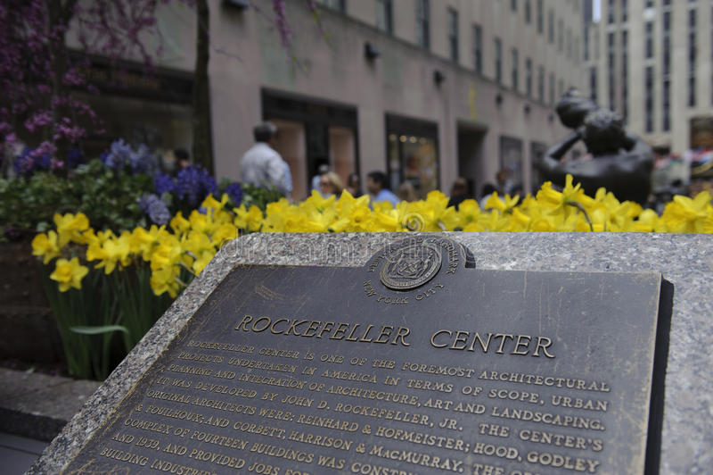 Rockefeller plaque in new York city royalty free stock photo