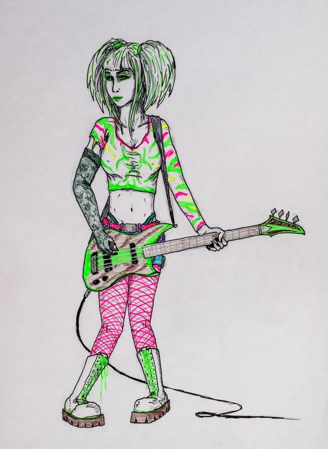 Rocker κοριτσιών Metalist που παίζει μια ηλεκτρική κιθάρα Σχέδιο μολυβιών και μελανιού Το πανκ είναι κορίτσι οπαδών του ροκ διανυσματική απεικόνιση