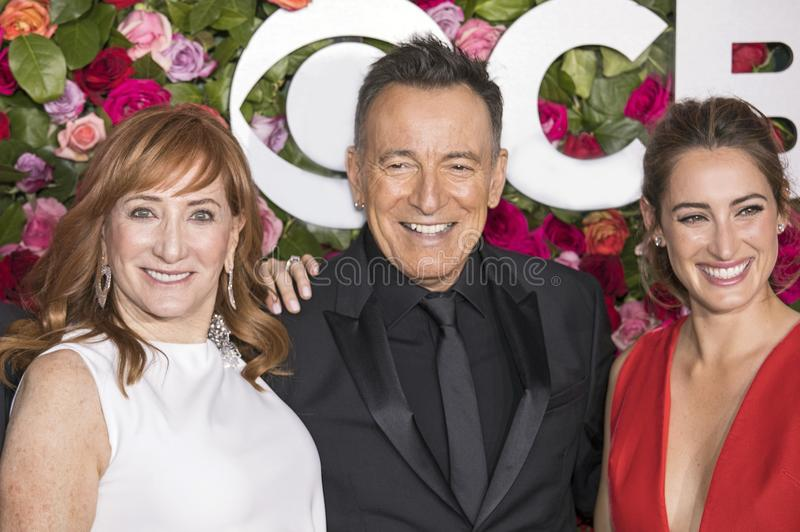 Bruce Springsteen at the 2018 Tony Awards. Rocker Bruce Springsteen, flanked by wife, and fellow performer, Patti Scialfa, and daughter Jessica Springsteen royalty free stock photo
