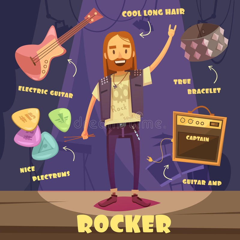 Rocker Character Pack For Man. Rocker character pack with trendy elements for long haired man on stage flat vector illustration royalty free illustration