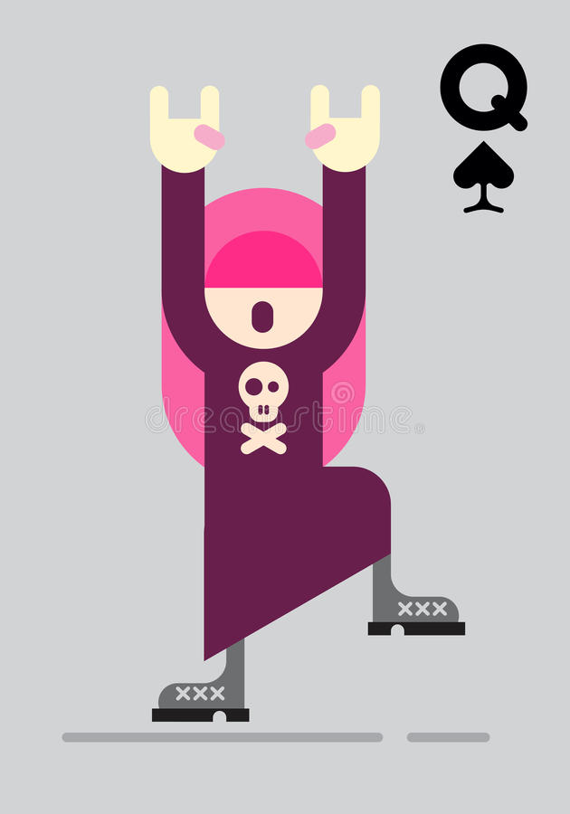 Rocker Girl Vector Illustration. Playing card with rocker girl. Dancing teenage girl with long pink hair and raised hands isolated on a grey background. Vector vector illustration