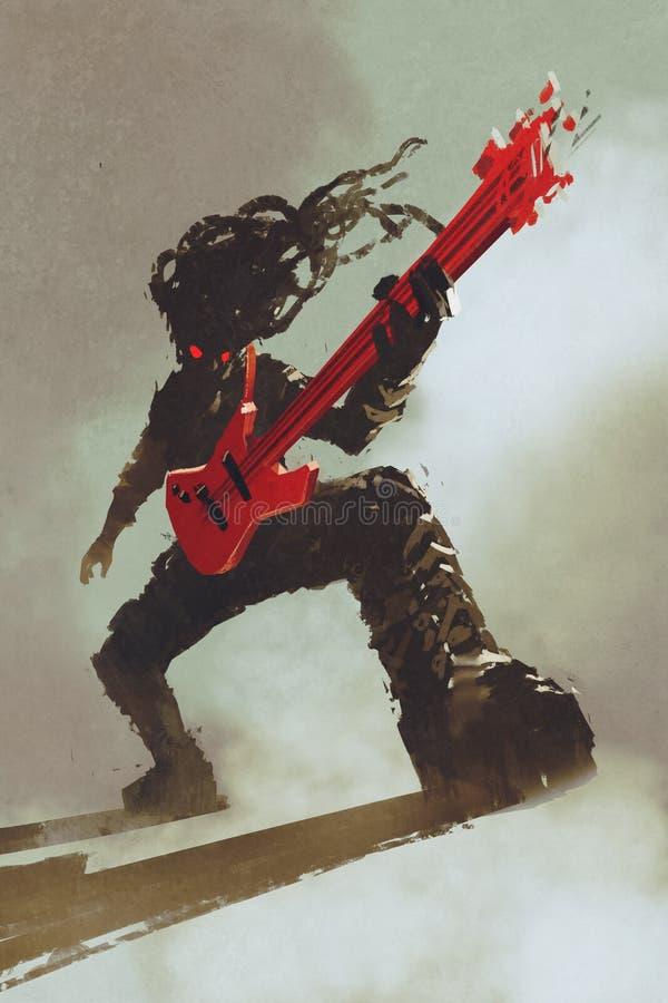 Rocker guitarist playing red guitar. Illustration,digital painting royalty free illustration