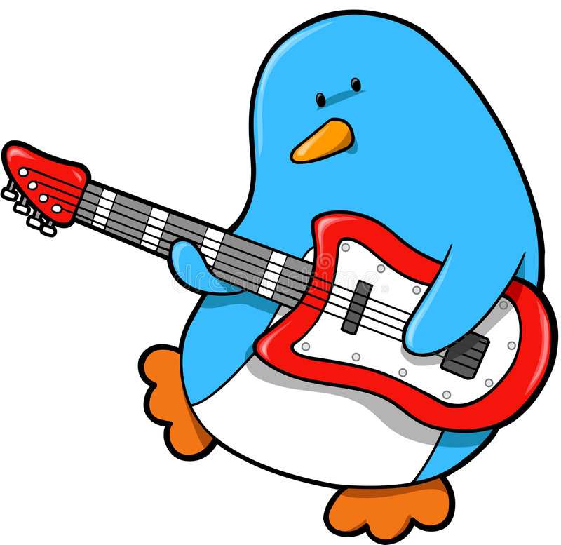 Rocker Penguin Vector. Cute Rocker Penguin Vector Illustration stock illustration