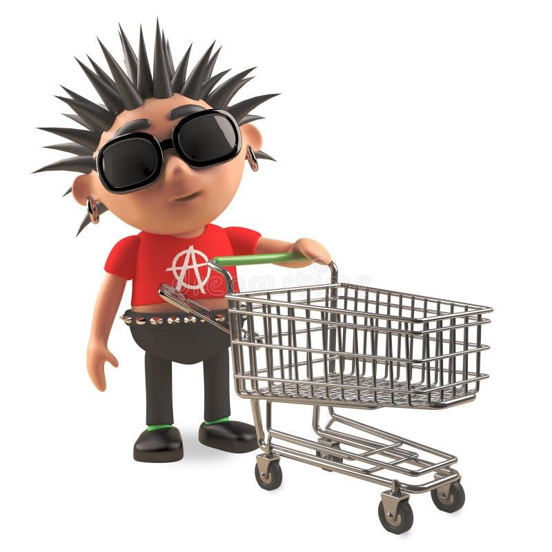 Rocker punk 3d ennuyé avec de l'air de spikey poussant un chariot de achat vide, illustration 3d illustration libre de droits