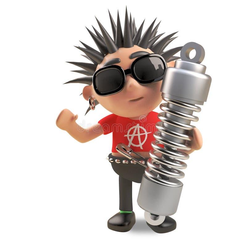 Rocker punk 3d frais avec des cheveux de spikey tenant un amortisseur de suspension, illustration 3d illustration stock