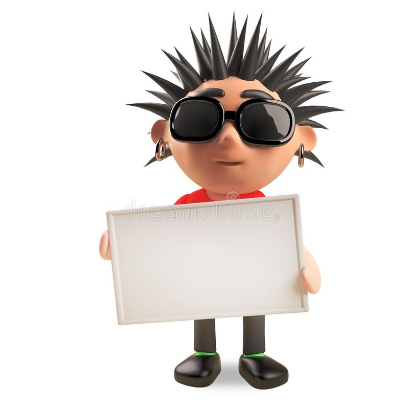 Rocker punk 3d frais avec des cheveux de spikey tenant un signe vide, illustration 3d illustration de vecteur